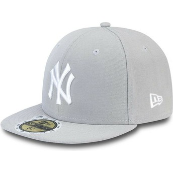 New Era Kinder Flat Brim Mit Weißem Logo 59FIFTY Essential New York Yankees MLB Fitted Cap grau