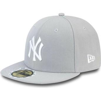 New Era Kinder Flat Brim Mit Weißem Logo 59FIFTY Essential New York Yankees MLB Fitted Cap grau