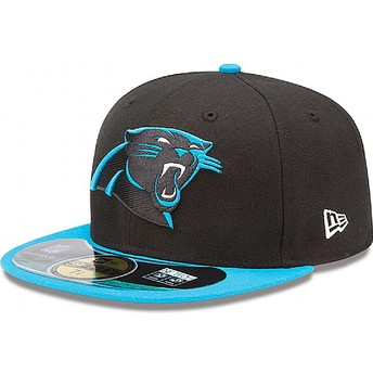 New Era Flat Brim 59FIFTY Authentic On-Field Game Carolina Panthers NFL Fitted Cap schwarz
