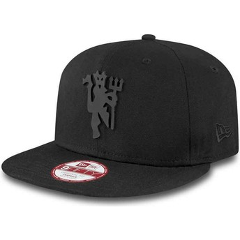 New Era Flat Brim 9FIFTY schwarz on schwarz Manchester United Football Club Snapback Cap schwarz