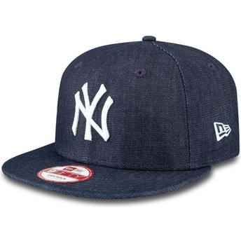 New Era Flat Brim 9FIFTY Essential New York Yankees MLB Snapback Cap marineblau