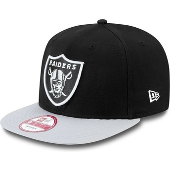 New Era Flat Brim 9FIFTY Cotton Block Oakland Raiders NFL Snapback Cap grau