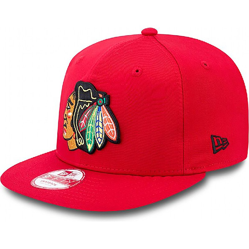 new-era-flat-brim-9fifty-cotton-block-chicago-blackhawks-nhl-snapback-cap-rot