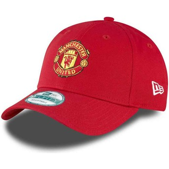 New Era Curved Brim 9FORTY Essential Manchester United Football Club Adjustable Cap rot