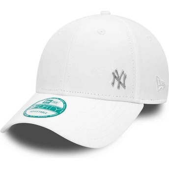 New Era Curved Brim 9FORTY Flawless Logo New York Yankees MLB Adjustable Cap weiß