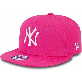 New Era Kinder Flat Brim 9FIFTY Essential New York Yankees MLB Snapback Cap pink
