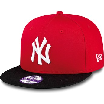 New Era Kinder Flat Brim 9FIFTY Cotton Block New York Yankees MLB Snapback Cap rot