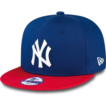 New Era Kinder Flat Brim 9FIFTY Cotton Block New York Yankees MLB Snapback Cap blau
