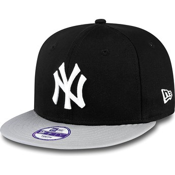 New Era Kinder Flat Brim 9FIFTY Cotton Block New York Yankees MLB Snapback Cap schwarz
