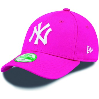 New Era Kinder Curved Brim 9FORTY Essential New York Yankees MLB Adjustable Cap pink