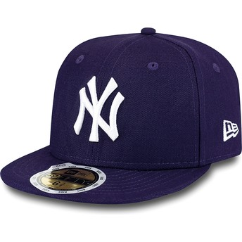 New Era Kinder Flat Brim 59FIFTY Essential New York Yankees MLB Fitted Cap violett